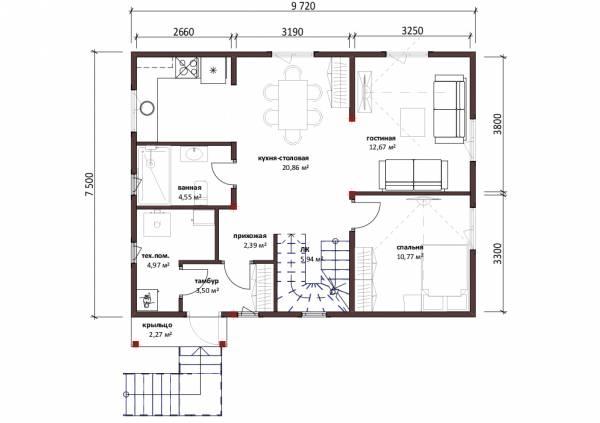 Отличная планировка первого этажа проект Молоди