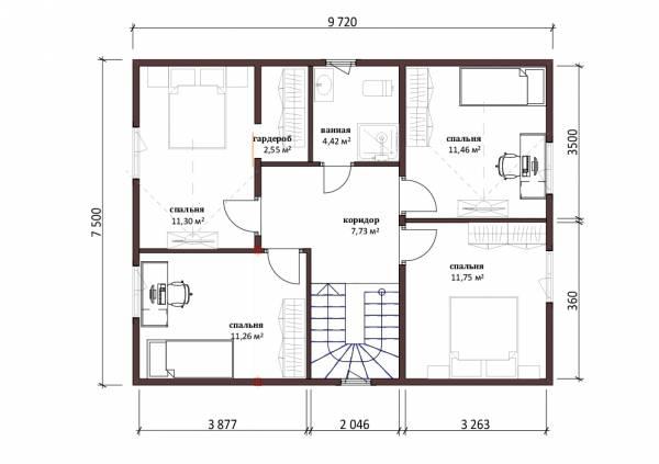 Лучшая планировка второго этажа дома по проекту Молоди