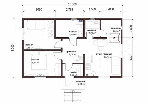 Планировка небольшого дачного дома проект Орлово