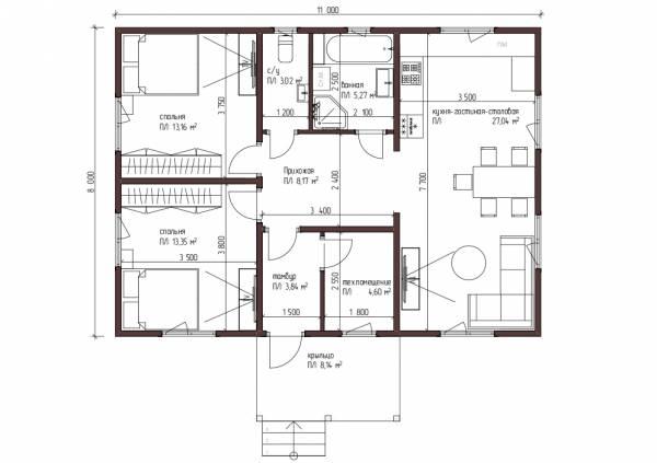 Планировка одноэтажного дома 8 на 11 метров