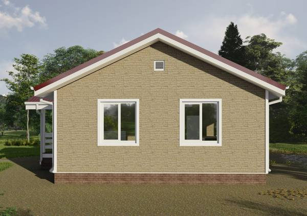 Фасад одноэтажного дома проект Рудаково с двумя окнами на стене.
