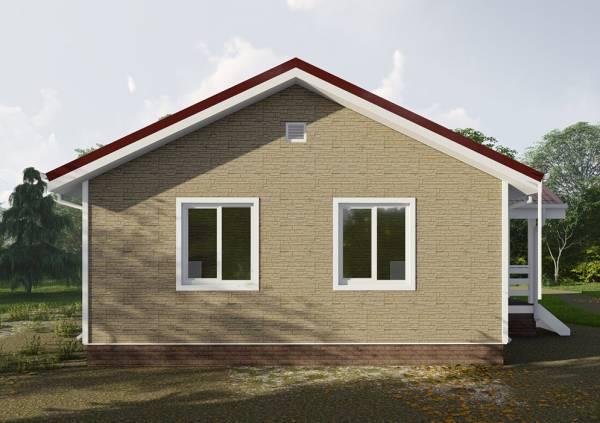 Вид на одноэтажный дом с двумя окнами на фасаде проект Рудаково.