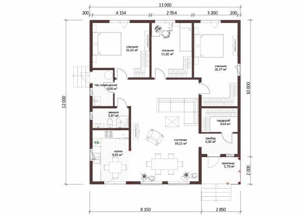 Планировка одноэтажного дома с тремя спальнями проект Чепелево.
