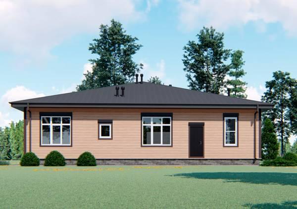 Вид на дом сзади размер дома 16х23 проект СК Дом Мастеров.