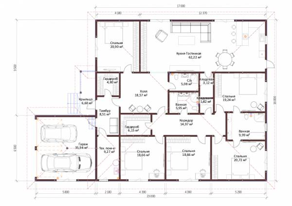 Планировка одноэтажного дома для постоянного проживания 16х23м.