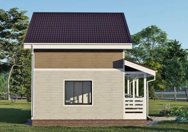 Вид сбоку дачного дома с одним окном размер дома 6х9