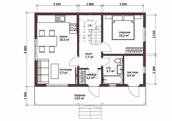 Планировка дачного дома 6х9 1 этаж одна спальня