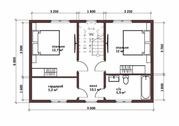 Планировка мансардного этажа дачного дома 6х9 с 3 спальнями