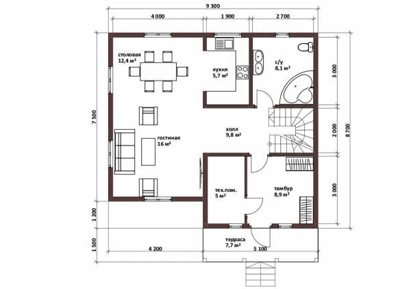 Планировка дома для постоянного проживания проект Машино
