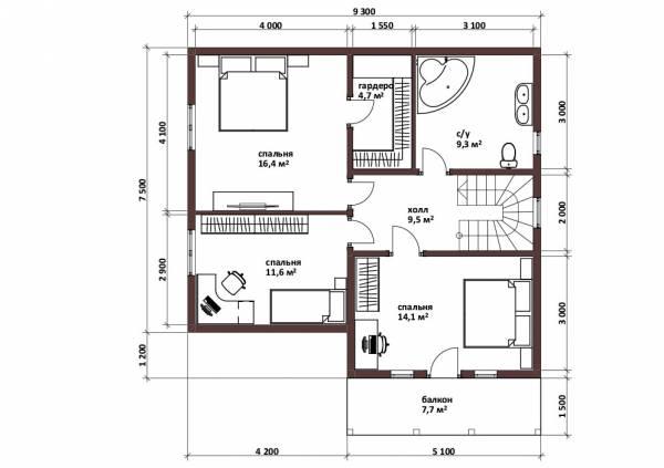 Планировка мансардного этажа с тремя спальнями для постоянного проживания.