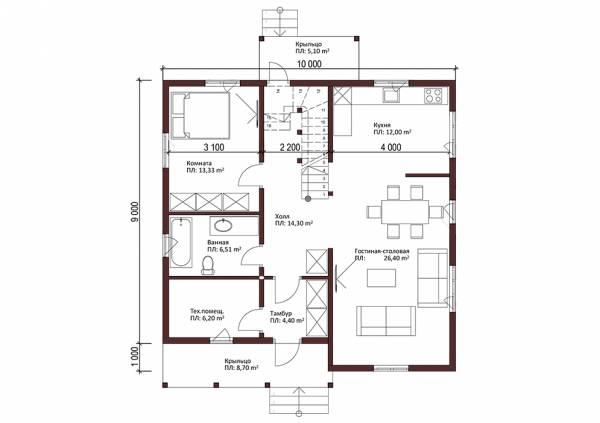 Первый этаж планировка двухэтажного коттеджа Хотьково