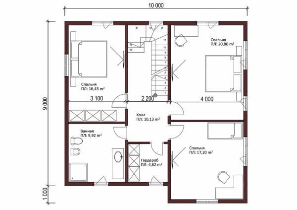 Второй этаж планировка двухэтажного коттеджа Хотьково