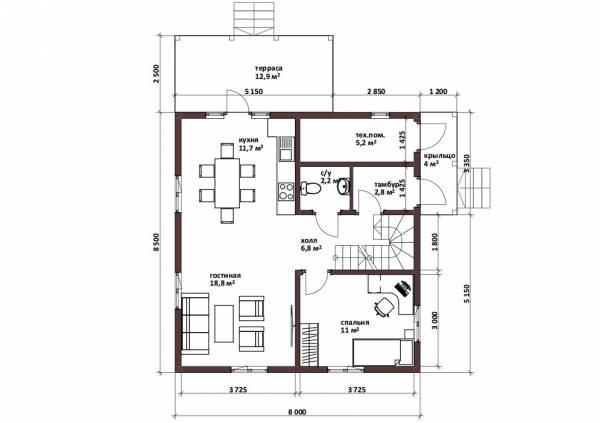 Планировка дома 8х8,5 проект для строительства.