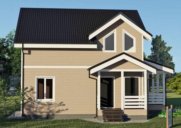 Крыльцо и входная группа дома 8х8,5 вид на фасад.