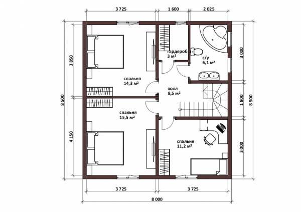 Планировка мансардного этажа с тремя спальнями и ванной 8х8,5 проект Заречье.