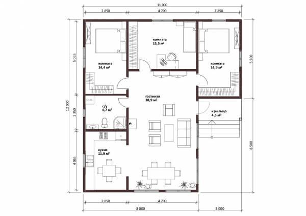 Планировка дома 11 на 12 с тремя спальнями.