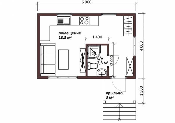 Планировка маленького дома 4х6 проект Маврино.