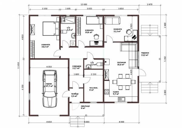 Планировка дома с гаражом 3 спальни 2 санузла котельная проект Петровский.