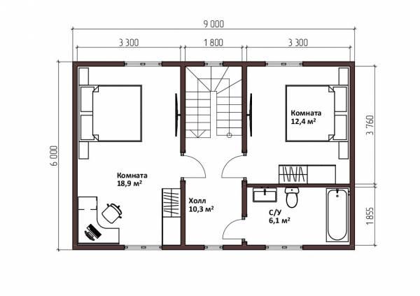 Планировка мансардного этажа дом 6х9 проект Красково.