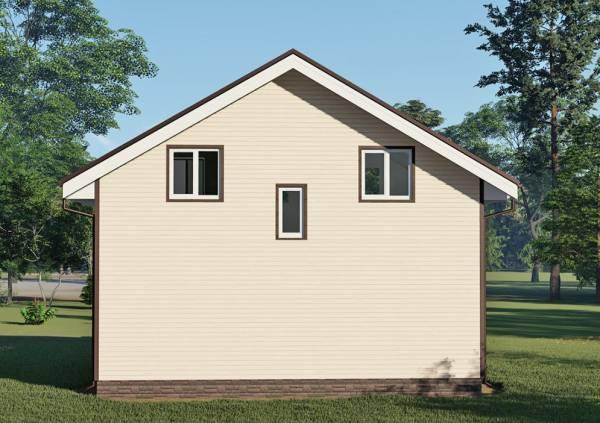 Стена дома 6 на 9 с тремя окнами.