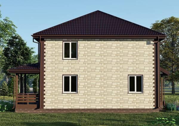 Вид сбоку на двухэтажный дом 10х10 проект Менделеево