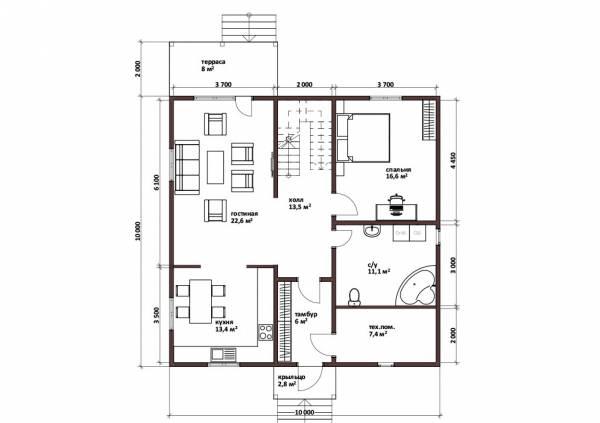 Планировка дома 10х10 первый этаж проект Менделеево