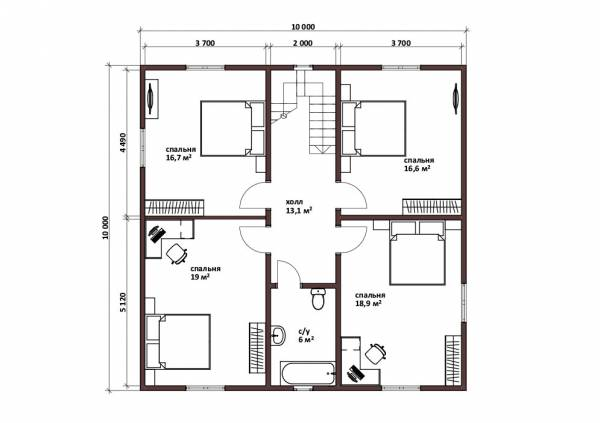 Полноценный второй этаж планировка дома 10х10