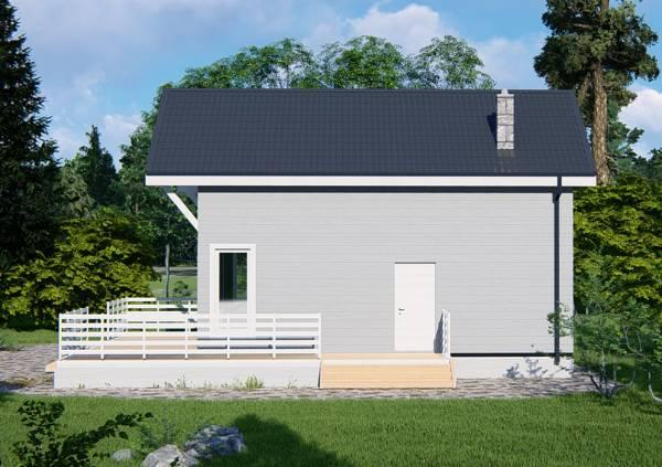 Второй вход в дом с панорамными окнами проект 6х9 проект Солнцево