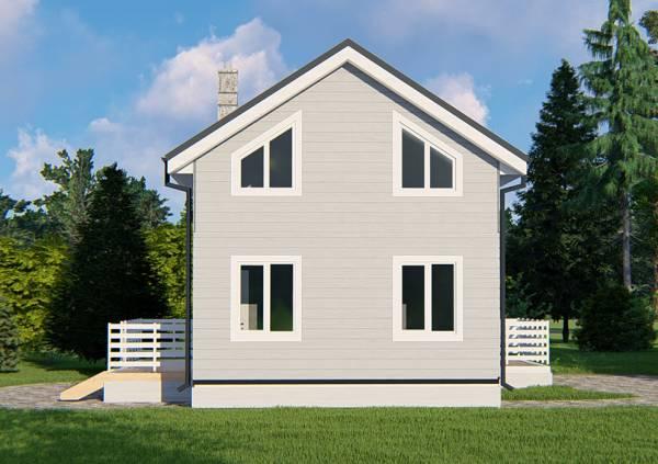 Задний вид фасада дома с панорамными окнами 6 на 9м.