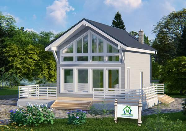 Дом с панорамными окнами проект Солнцево 6х9м.