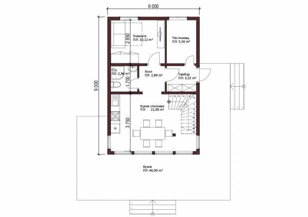 Планировка первого этажа дома с панорамными окнами 6х9 проект Солнцево.