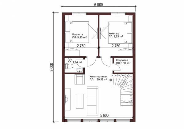 Планировка второго этажа дома с панорамными окнами проект Солнцево размер 6х9м.