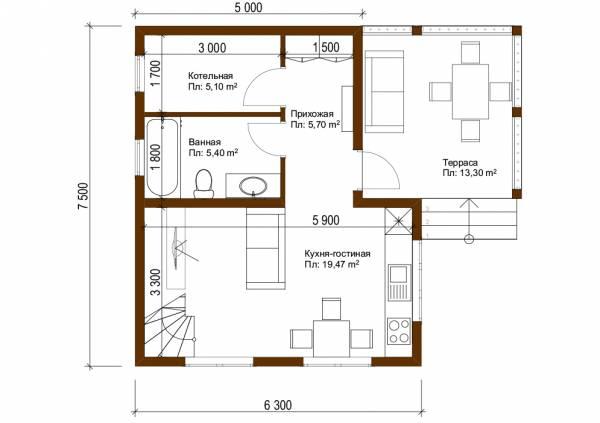 Планировка первого этажа дачного дома 6х7,5м проект Мишеронский