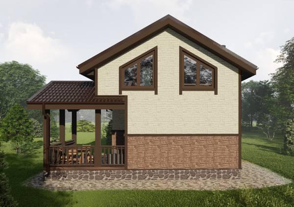 Терраса и вид сбоку на дачный дом с мансардным этажом 6х7 проект для строительства.