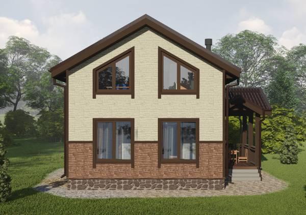 Четыре больших окна в дачном доме вид фасада 6х7,5м.
