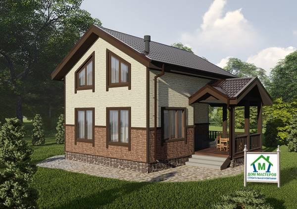 Двухэтажный дачный дом с мансардным этажом 6,3х7,5 проект Мишеронский
