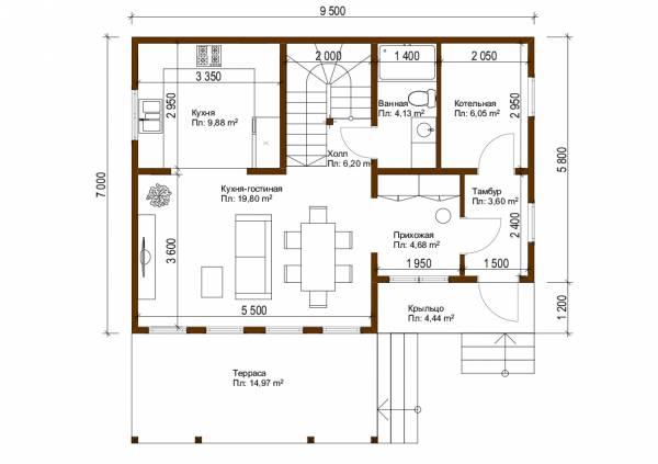 Планировка первого этажа дома постоянного проживания  7х9,5 проект Оболенск