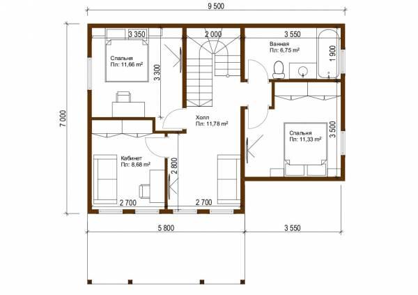 План второго этажа дома  7х9,5 проект Оболенск
