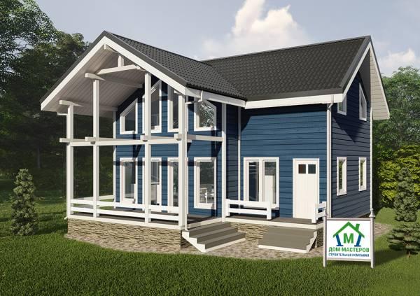 Проект дома для постоянного проживания главный вид 7х9,5 Оболенск