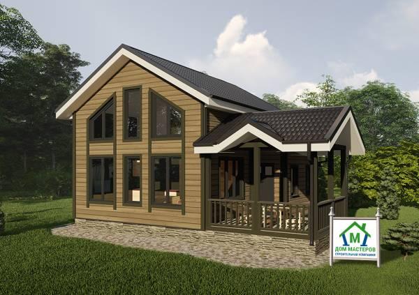 Дачный дом с панорамными окнами 7,5х7,8 метров проект Родники