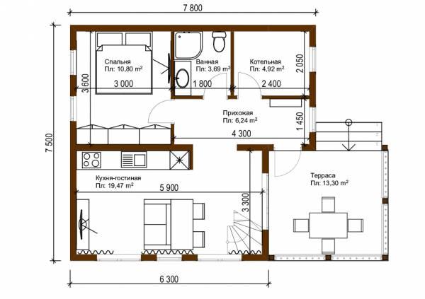 Планировка первого этажа дачного дома размером 7,5х7,8 проект Родники