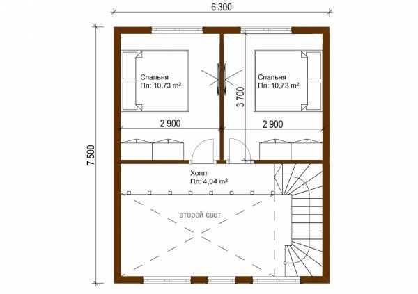 Планировка второго этажа дачного дома 7,5х7,8 проект Родники