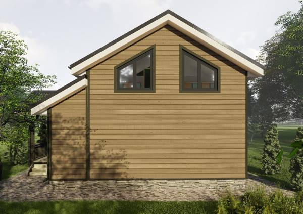 Фасад дачного дома с двумя окнами размер дома 7,5х7,8