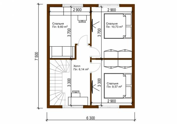 Планировка второго этажа дачного дома проект Мишеронский