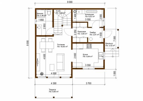 Планировка первого этажа проект Фряново размер 8х8