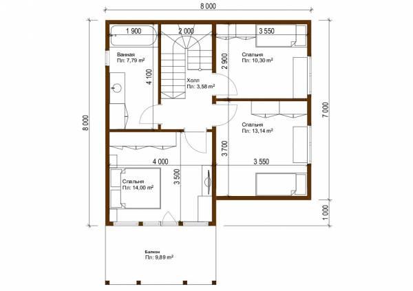 Планировка второго этажа 8х8 коттедж Фряново