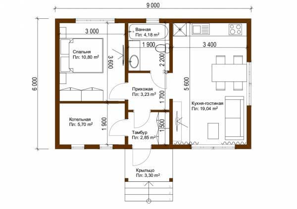 Планировка дачного дома  6х9 проект Молодежный