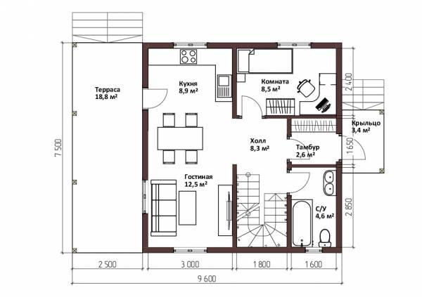Планировка первого этажа дачного дома 7,1х9,5 метров