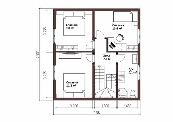 Планировка второго этажа дачного дома 7,1х9,5 метров