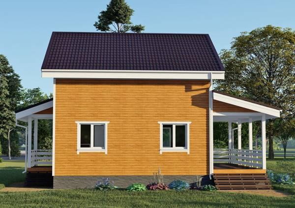 Задний фасад дачного дома визуализация проекта 7,1х9,5 метров